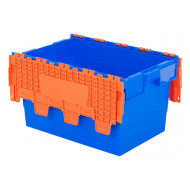 60 Litre blue polypropylene distribution container with orange lid