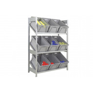 Single Depth Galvanized Sloping Shelves With 9 Plastic Boxes