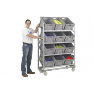Mobile Galvanized Sloping Shelves With 12 Plastic Boxes