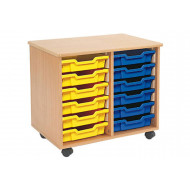 Mobile Tray Storage Unit With 12 Shallow Gratnells Trays