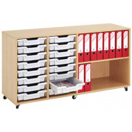 Mobile Tray Storage Unit With 16 Shallow Gratnells Trays