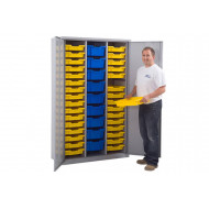 Lockable Storage Cupboard With 41 Gratnells Trays