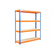 Rapid 1 Heavy Duty Shelving With 4 Chipboard Shelves 1220wx1980h (Blue/Orange)