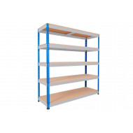Rapid 1 Heavy Duty Shelving With 5 Chipboard Shelves 1220wx1980h (Blue/Grey)