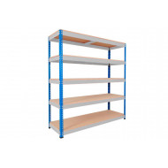 Rapid 1 Heavy Duty Shelving With 5 Chipboard Shelves 1525wx1980h (Blue/Grey)
