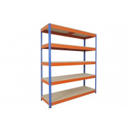 Rapid 1 Heavy Duty Shelving With 5 Chipboard Shelves 1525wx1980h (Blue/Orange)