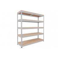 Rapid 1 Heavy Duty Shelving With 5 Chipboard Shelves 1525wx1980h (Grey)