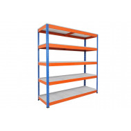 Rapid 1 Heavy Duty Shelving With 5 Galvanized Shelves 1525wx1980h (Blue/Orange)