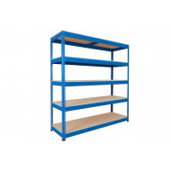 Rapid 1 Heavy Duty Shelving With 5 Chipboard Shelves 1830wx1980h (Blue)