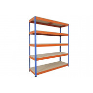 Rapid 1 Heavy Duty Shelving With 5 Chipboard Shelves 1830Wx1980H (Blue/Orange)