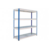 Rapid 1 Heavy Duty Shelving With 4 Wire Mesh Shelves 1830wx1980h (Blue/Grey)