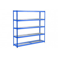 Rapid 1 Heavy Duty Shelving With 5 Wire Mesh Shelves 1830wx1980h (Blue)