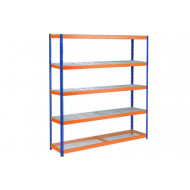 Rapid 1 Heavy Duty Shelving With 5 Wire Mesh Shelves 1830wx1980h (Blue/Orange)