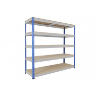 Rapid 1 Heavy Duty Shelving With 5 Chipboard Shelves 2134Wx1980H (Blue/Grey)