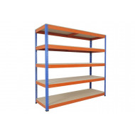 Rapid 1 Heavy Duty Shelving With 5 Chipboard Shelves 2134wx1980h (Blue/Orange)