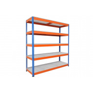 Rapid 1 Heavy Duty Shelving With 5 Galvanized Shelves 2134wx1980h (Blue/Orange)