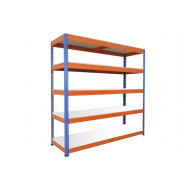 Rapid 1 Heavy Duty Shelving With 5 Melamine Shelves 2440wx1980h (Blue/Orange)