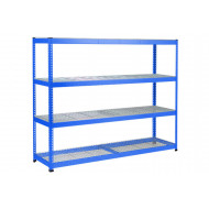 Rapid 1 Heavy Duty Shelving With 4 Wire Mesh Shelves 2440wx1980h (Blue)
