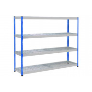Rapid 1 Heavy Duty Shelving With 4 Wire Mesh Shelves 2440wx1980h (Blue/Grey)