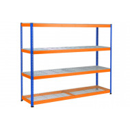 Rapid 1 Heavy Duty Shelving With 4 Wire Mesh Shelves 2440wx1980h (Blue/Orange)