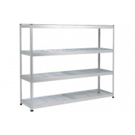 Rapid 1 Heavy Duty Shelving With 4 Wire Mesh Shelves 2440wx1980h (Grey)