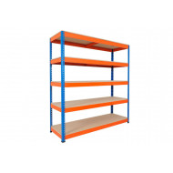 Rapid 1 Heavy Duty Shelving With 5 Chipboard Shelves 1525wx2440h (Blue/Orange)