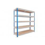 Rapid 1 Heavy Duty Shelving With 5 Chipboard Shelves 1830wx2440h (Blue/Grey)