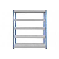 Rapid 1 heavy duty shelving with 5 galvanized shelves 1830wx2440h (blue/grey)