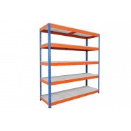 Rapid 1 Heavy Duty Shelving With 5 Galvanized Shelves 1830wx2440h (Blue/Orange)