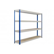 Rapid 1 Heavy Duty Shelving With 4 Chipboard Shelves 2440wx2440h (Blue/Grey)