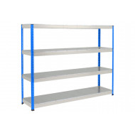 Rapid 1 Heavy Duty Shelving With 4 Galvanized Shelves 2134wx2440h (Blue/Grey)