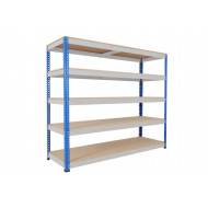 Rapid 1 Heavy Duty Shelving With 5 Chipboard Shelves 2440wx2440h (Blue/Grey)