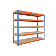 Rapid 1 Heavy Duty Shelving With 5 Chipboard Shelves 2440wx2440h (Blue/Orange)