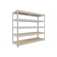 Rapid 1 Heavy Duty Shelving With 5 Chipboard Shelves 2440wx2440h (Grey)