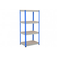 Rapid 1 Standard Shelving With 4 Chipboard Shelves 915Wx1980H (Blue/Grey)