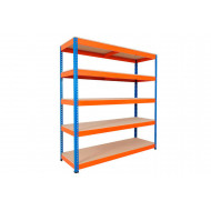 Rapid 1 Standard Shelving With 5 Chipboard Shelves 1220wx1980h (Blue/Orange)