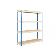 Rapid 1 Heavy Duty Shelving With 4 Chipboard Shelves 1220wx1980h (Blue/Grey)