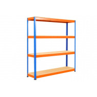 Rapid 1 Standard Shelving With 4 Chipboard Shelves 1830wx1980h (Blue/Orange)