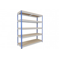 Rapid 1 Standard Shelving With 5 Chipboard Shelves 1525wx2440h (Blue/Grey)