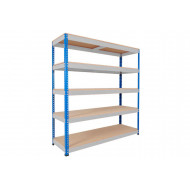 Rapid 1 Standard Shelving With 5 Chipboard Shelves 1830wx2440h (Blue/Grey)