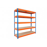Rapid 1 Standard Shelving With 5 Chipboard Shelves 1830wx2440h (Blue/Orange)