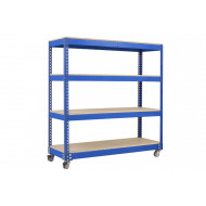 Rapid 1 Mobile Shelving Unit With 4 Shelves 1830wx1625h (Blue)