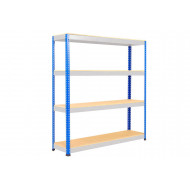 Rapid 1 Heavy Duty Shelving With 4 Chipboard Shelves 1525wx1980h (Blue/Grey)