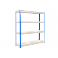 Rapid 1 Heavy Duty Shelving With 4 Melamine Shelves 1525wx1980h (Blue/Grey)