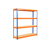 Rapid 1 Heavy Duty Shelving With 4 Chipboard Shelves 1525wx1980h (Blue/Orange)