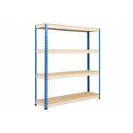 Rapid 1 Heavy Duty Shelving With 4 Chipboard Shelves 1830Wx1980H (Blue/Grey)