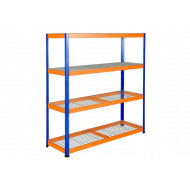 Rapid 1 Heavy Duty Shelving With 4 Wire Mesh Shelves 1830Wx1980H (Blue/Orange)