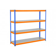 Rapid 1 Heavy Duty Shelving With 4 Galvanized Shelves 2134wx1980h (Blue/Orange)