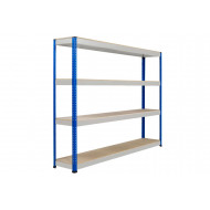 Rapid 1 Heavy Duty Shelving With 4 Chipboard Shelves 2134wx1980h (Blue/Grey)