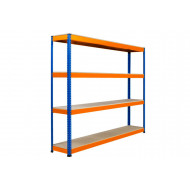 Rapid 1 Heavy Duty Shelving With 4 Chipboard Shelves 2134wx1980h (Blue/Orange)